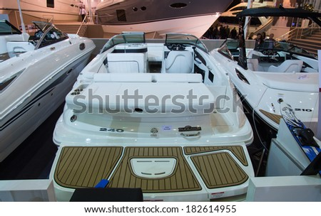 ISTANBUL - FEBRUARY 22: Sundeck 240 Boat in CNR Avrasya Boat Show on February 22, 2014 in Istanbul, Turkey.