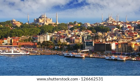 Istanbul from Galata tower, Turkey - stock photo