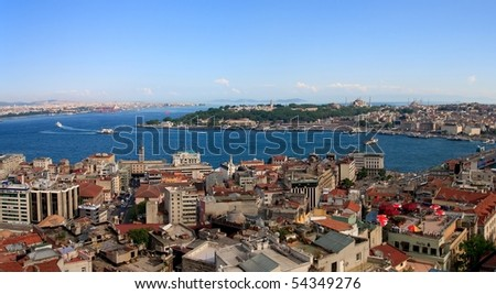 Istanbul Golden Horn Panorama from Galata Tower, Turkey - stock photo