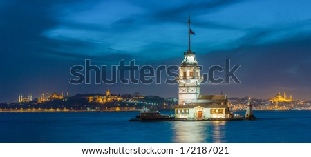 Istanbul Historical Peninsula and The Maiden's Tower at Night - stock photo
