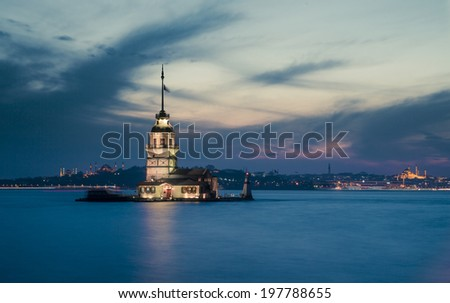 Istanbul Historical Peninsula and The Maiden's Tower at night