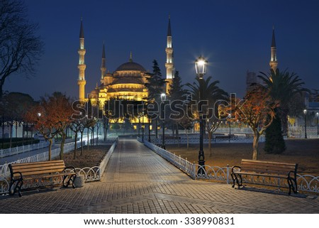 Istanbul. Image of the Blue Mosque in Istanbul, Turkey during twilight blue hour. - stock photo