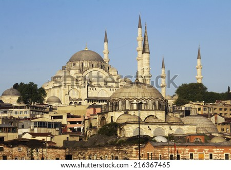 Istanbul in Turkey historic architecture, on the hill Suleymaniye Mosque (Ottoman imperial mosque), early morning  - stock photo