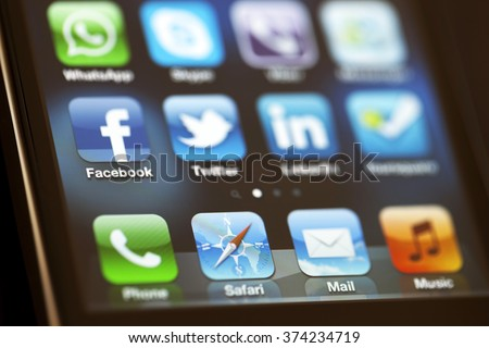 ISTANBUL - JULY 06, 2012: Apple Iphone 4S screen with social media applications of Facebook, Twitter, Skype, Linkedin, Whatsapp, foursquare and Messenger. - stock photo