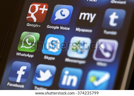 ISTANBUL - JULY 06, 2012: Apple Iphone 4S screen with social media applications of Myspace, Facebook, Linkedin, Twitter, Skype, Whatsapp, Tumblr, foursquare, Messenger and Viber. - stock photo