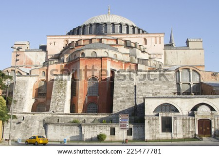 ISTANBUL - JULY 11: Mosque - Museum of Hagia Sophia in Sultanahmet Square in Istanbul on July 11, 2014 in Istanbul. - stock photo