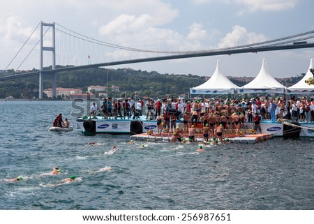 Istanbul, JULY 20, 2014 - The traditional 26th Samsung Bosporus Cross Continental Swimming Race, with 1729 sportsman from 45 countries took place last 21st July - reported the local media. - stock photo