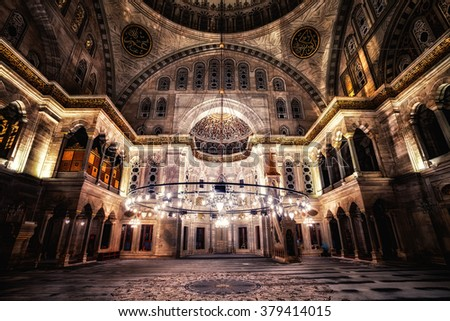 ISTANBUL - JUN 18: Blue Mosque interior. Also know as the Sultan Ahmed Mosque, it is historic mosque in June 18, 2015 in Istanbul, Turkey. - stock photo