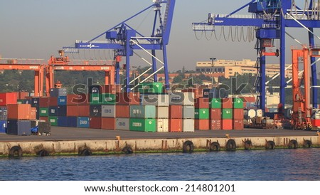 ISTANBUL - JUN 11, 2012: Haydarpasa Container Port. Trading port build by the Anatolian Railway on April 20, 1899 has capacity of 1,200 vessels/year with open storage area of 350,000 m2 - stock photo
