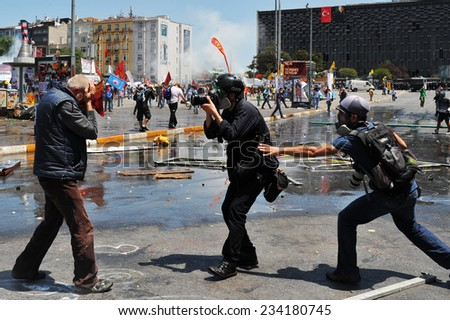 ISTANBUL - JUN 11: In Taksim Gezi Park, protests sparked by plans to build on the Gezi Park have broadened into nationwide anti government unrest on June 11, 2013 in Istanbul, Turkey. Taksim square - stock photo