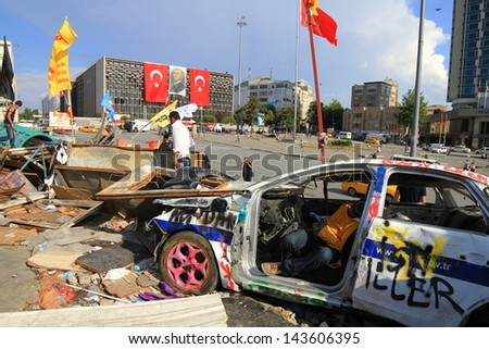 ISTANBUL - JUN 14: Protesters refuse to leave Gezipark despite assurances on June 14, 2013 in Istanbul, Turkey. Demonstrators defying an order to end almost two weeks of protest against Prime Minister - stock photo