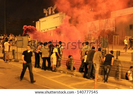 ISTANBUL - JUN 1: Violence sparked by plans to build on the Gezi Park have broadened into nationwide anti government unrest on June 1, 2013 in Istanbul, Turkey. Besiktas Inonu Stadium - stock photo