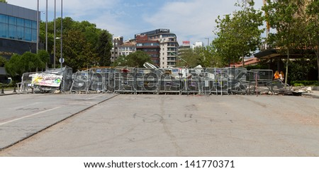 ISTANBUL - JUNE 08: Barricade around Taksim Square during protests on June 08, 2013 in Istanbul, Turkey. People do not allow police to enter Taksim Square before their requests are accepted. - stock photo