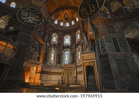 ISTANBUL - JUNE 4, 2014 Hagia Sophia Museum at Istanbul Turkey, Detail of Hagia Sophia, Aya Sofya Museum in Istanbul Turkey, HDR shot - stock photo