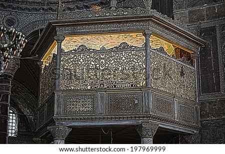 ISTANBUL - JUNE 4, 2014 - Hagia Sophia Museum at Istanbul Turkey, Detail of Hagia Sophia, Aya Sofya Museum in Istanbul Turkey, HDR shot - stock photo