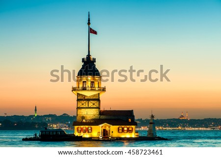 Istanbul Maiden's Tower also known as Leander's Tower from the east in sunset, Istanbul, Turkey.