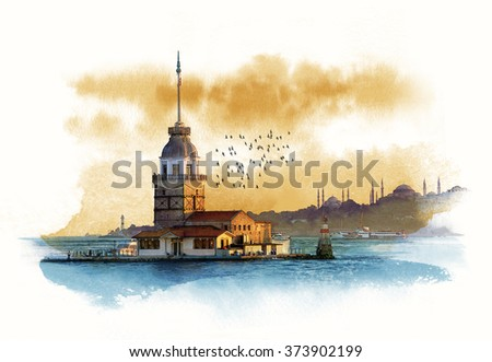 Istanbul, Maiden's Tower, Turkey. Watercolor sketch - stock photo