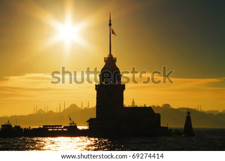Istanbul Maiden Tower against sun in summer time