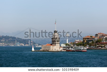 Istanbul Maiden Tower . In the distance are such landmarks as Bosphorus and Bosphorus bridge - stock photo