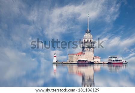 Istanbul Maiden Tower (kiz kulesi)  - stock photo