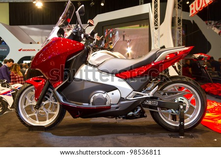 ISTANBUL - MARCH 03: A Honda motocycle on display at Eurasia Moto Bike Expo 2012 on March 03, 2012 Istanbul, Turkey.