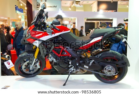 ISTANBUL - MARCH 03: Ducati Multistrada 1200 on display at Eurasia Moto Bike Expo 2012 on March 03, 2012 Istanbul, Turkey.