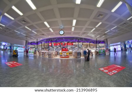 ISTANBUL - MARCH 22: interior of Ataturk Airport on March 22, 2014 in Istanbul, Turkey. Ataturk Airport was the 18th busiest in the world in 2013 in terms of passenger numbers. - stock photo