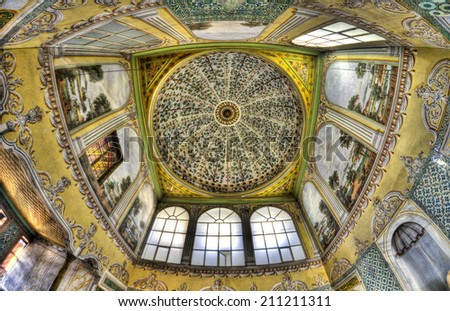 ISTANBUL, MARCH 24: interior of Topkapi Palace Harem on March 24, 2014 in Istanbul, Turkey. Istanbul is the capital of Turkey and the largest city in Europe, with a population of 14.2 million.  - stock photo