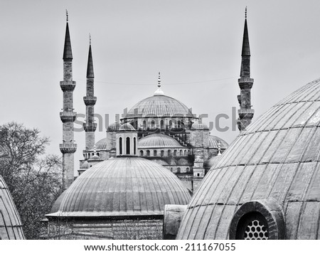 ISTANBUL, MARCH 25: view of Blue Mosque from Hagia Sofia on March 25, 2014 in Istanbul, Turkey. The 17th Century Blue Mosque is one of Istanbul's most visited attractions. - stock photo
