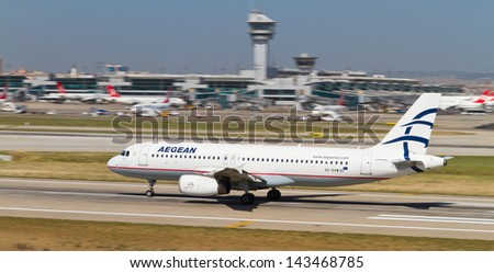 ISTANBUL - MAY 26: Aegean Airlines Airbus A320 accelerate to takeoff at Ataturk Airport on May 26, 2013 in Istanbul, Turkey. AA is the largest Greek airline by number of destinations and fleet size - stock photo