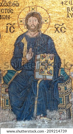 ISTANBUL - MAY 17, 2014 - Christ enthroned,  Byzantine mosaic in the gallery of  Hagia Sophia  in Istanbul, Turkey - stock photo