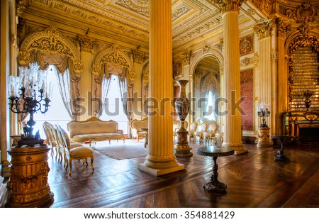 ISTANBUL - MAY 06 : Dolmabahce Palace interior on May 06 2014 in Istanbul Turkey. - stock photo