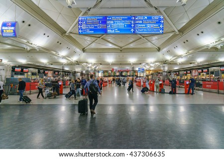 ISTANBUL - MAY 16: Interior of Istanbul Ataturk Airport on May 16, 2016. It's the main international airport of Turkey which is the main hub for Turkish Airlines. - stock photo