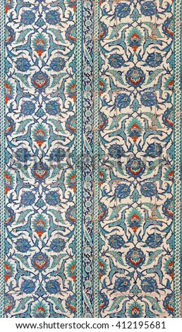 ISTANBUL - MAY 17, 2014 - Intricate Iznik mosaic tile work    in Istanbul, Turkey - stock photo