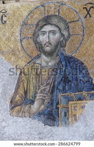 ISTANBUL - MAY 17, 2014 - Jesus Christ sitting in judgement,  mosaic in  Hagia Sophia  in Istanbul, Turkey.. - stock photo