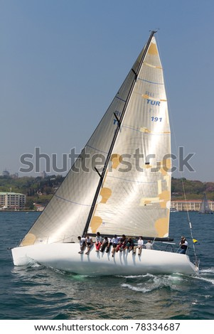 ISTANBUL - MAY 14: Korza, Prototype competes in the W Collection Sailing Cup Bosphorus 2011 boat race, on May 14, 2011 Istanbul, Turkey.