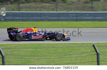 ISTANBUL - MAY 08: Sebastian Vettel drives a RBR Renault team car during 2011 F1 Turkish Grand Prix, Istanbul Park on May 08, 2011 Istanbul, Turkey - stock photo