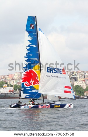 ISTANBUL - MAY 29: Skipper Roman Hagara, Red Bull Extreme Sailing team boat competes in the Extreme Sailing Series on May 29, 2011 Istanbul, Turkey. - stock photo