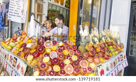 ISTANBUL - MAY 20 : Typical fruit shop near Galata Bridge, on May 20, 2013, in Istanbul, Turkey. These stores often sell the famous delights of Turkey.