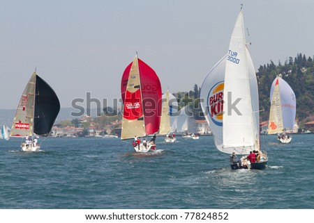 ISTANBUL - MAY 14: Unidentified participants compete in the W Collection Sailing Cup Bosphorus 2011 boat race on May 14, 2011 in Istanbul, Turkey.