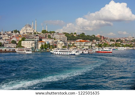 Istanbul New Mosque and Ships, Turkey - stock photo