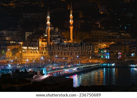 ISTANBUL, NOV 13: Galata bridge in Istanbul during night in a different angle. November 2013 in Istanbul, Turkey  - stock photo