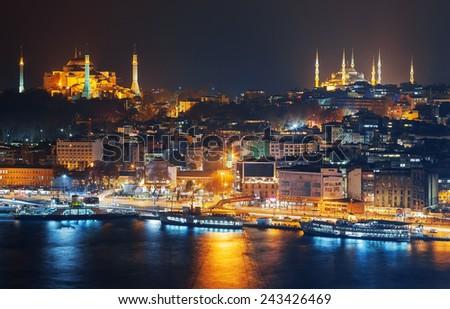 ISTANBUL, NOV 19: Sultanahmet  night during night from the Marmara sea . November 2013 in Istanbul, Turkey - stock photo