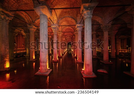 ISTANBUL, NOV 13: The Basilica Cistern beneath the city of Istanbul. November 2013 in Istanbul, Turkey