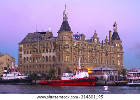ISTANBUL - OCT 21, 2013:  Haydarpasa central station building. Train station built by Sultan Abdulhamid in 1908 as the starting point of the Istanbul - Baghdad railroad - stock photo
