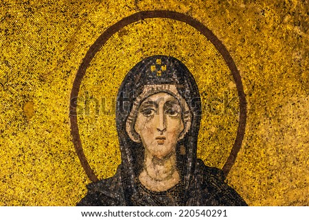 ISTANBUL, OCT 25: Mosaic of Virgin Mary inside the Hagia Sophia museum on October 25, 2013 in Istanbul, Turkey.  The Hagia Sophia was once a mosque and a cathedral. - stock photo