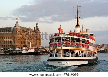 ISTANBUL - OCTOBER 4: Ferry BARIS MANCO sails in to Haydarpasa on October 4, 2008 in Istanbul. Nearly 150,000 passengers use ferries daily in Istanbul, due to easy access to two different continents. - stock photo