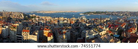 Istanbul Panorama from galata tower - stock photo