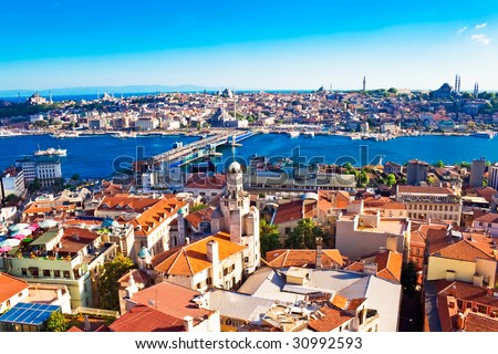 Istanbul. Panoramic View from Galata tower to Golden Horn, Turkey - stock photo