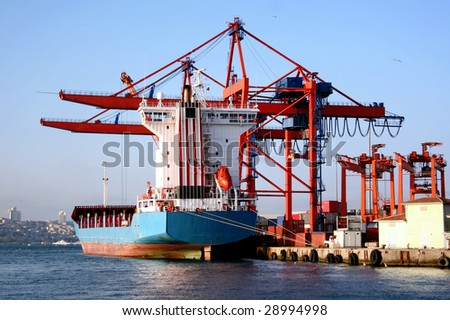 Istanbul port with an empty freighter ship - stock photo